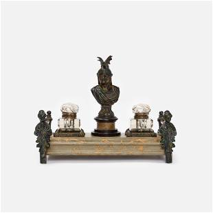 Marbled Inkstand with Classical Bust of Mars