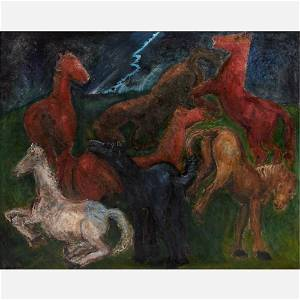 "Jens Sondergaard (Danish, 1895-1957) Large ""Horses"" Oil"