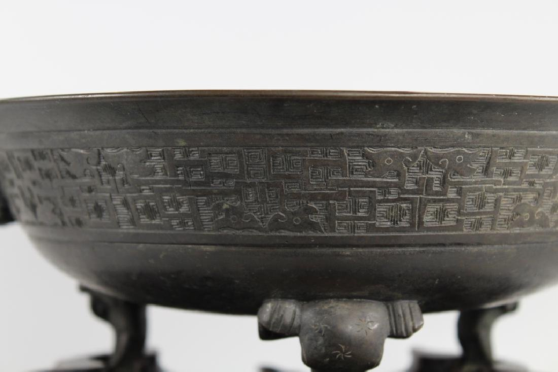 18th C Chinese Twin Handled Bronze Elephant Bowl - 2