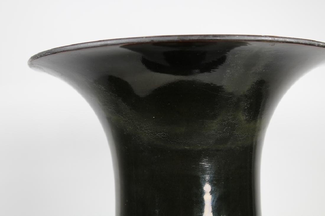 Large Chinese Dark Olive Green Baluster Vase - 6