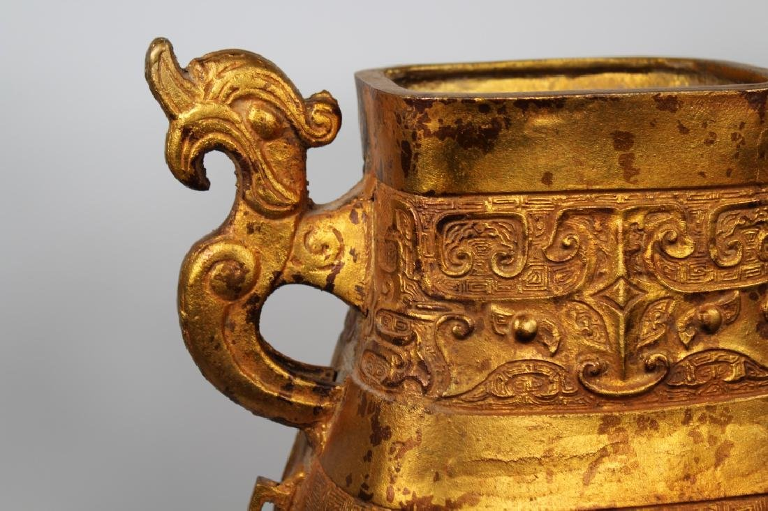 Large Gilt Bronze Chinese Archaic Style Vase - 2