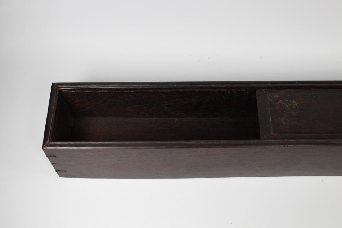 Chinese Zitan Wood Scroll Box - 3