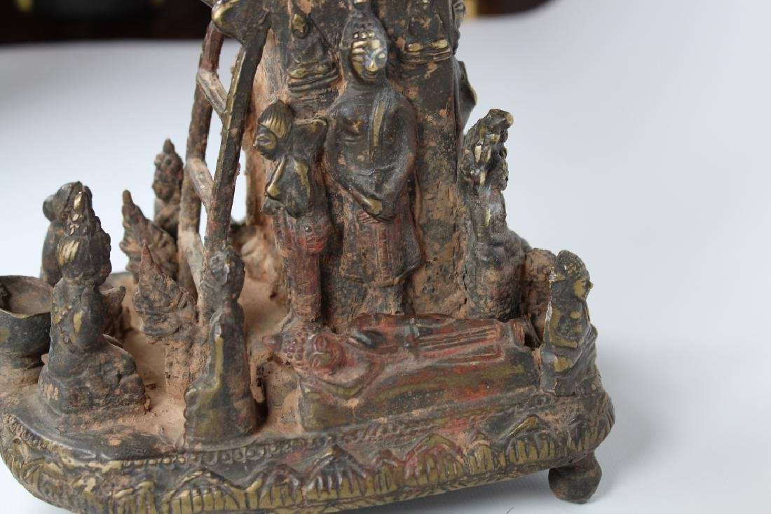 Unusual Early Antique Tibetan Figural Altarpiece - 3