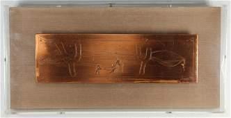 Salvador Dali, AP 32/50 Framed Copper Plaque