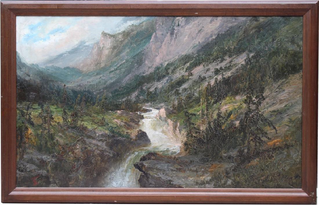 Large American Monogrammed Western Landscape