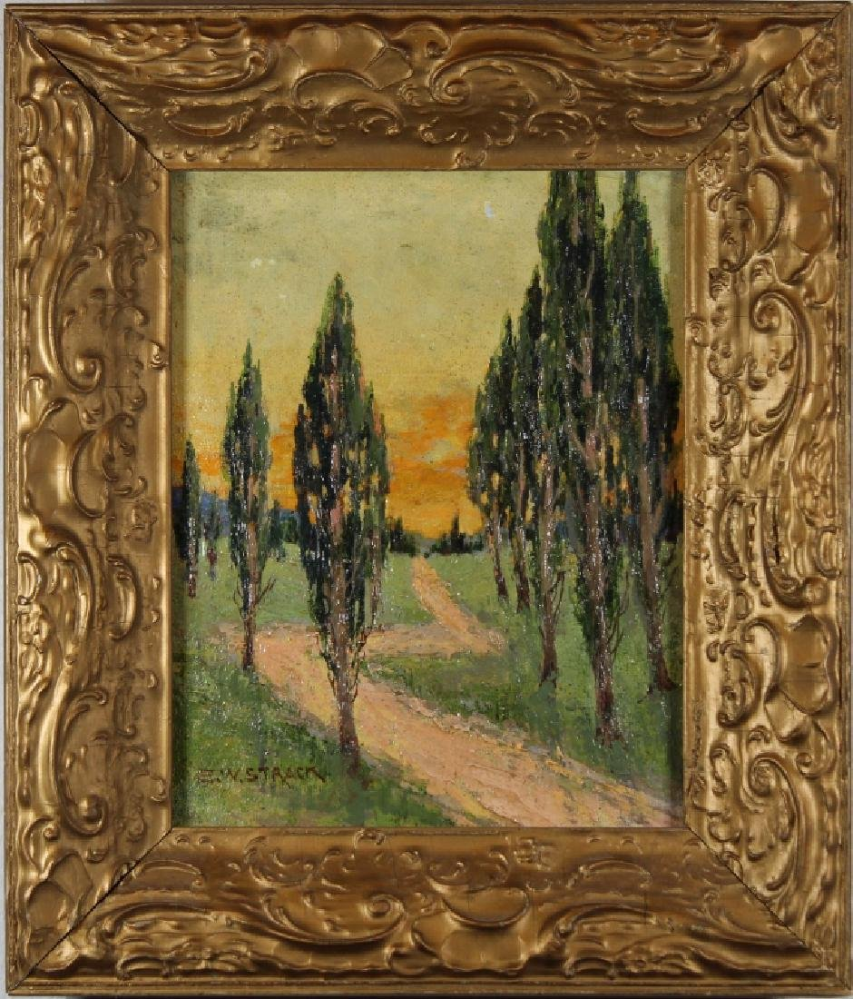 E.W. Strack, Signed Painting of Wooded Pathway