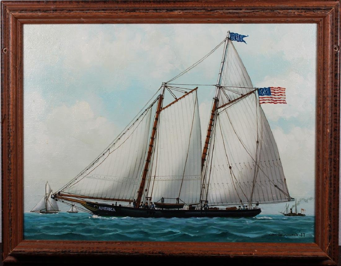 Vintage, Signed Painting of America's Cup