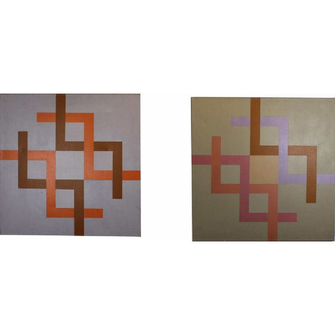 (2) Kostka '77, Signed Geometric Abstract Paintings