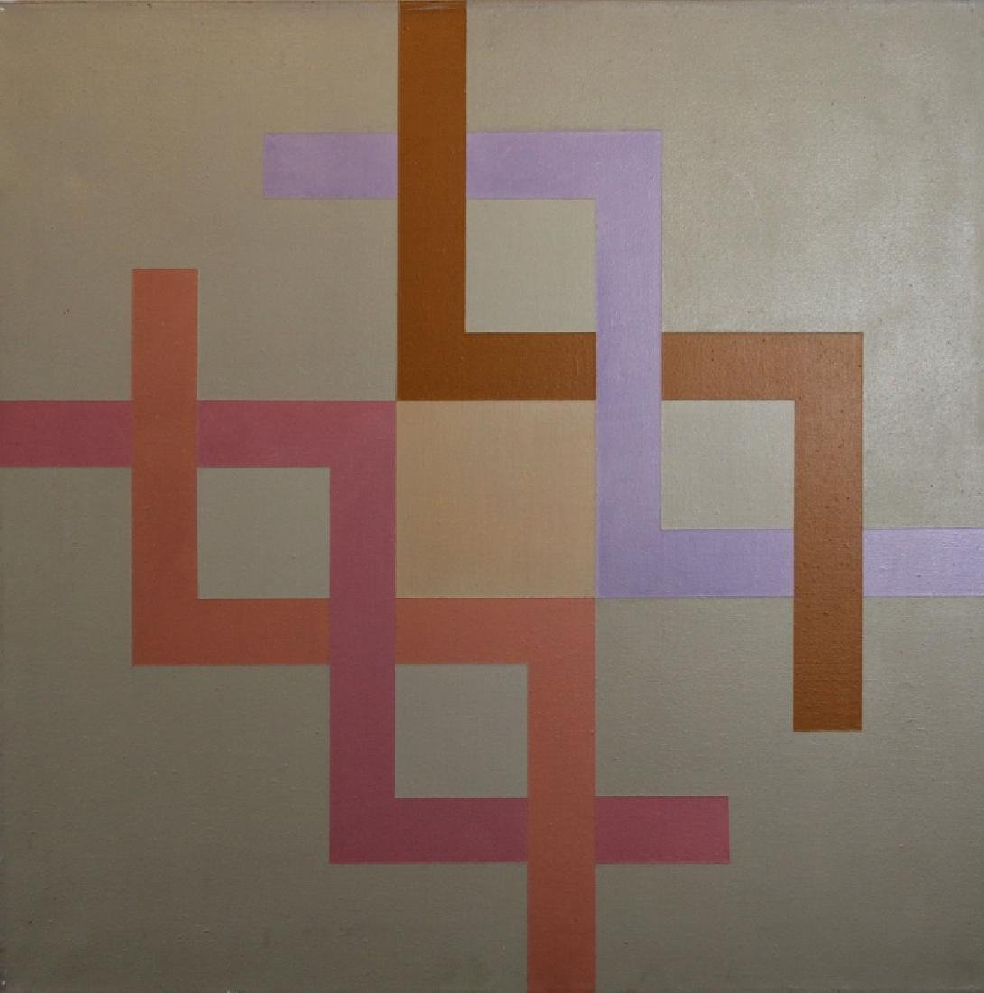 (2) Kostka '77, Signed Geometric Abstract Paintings - 3