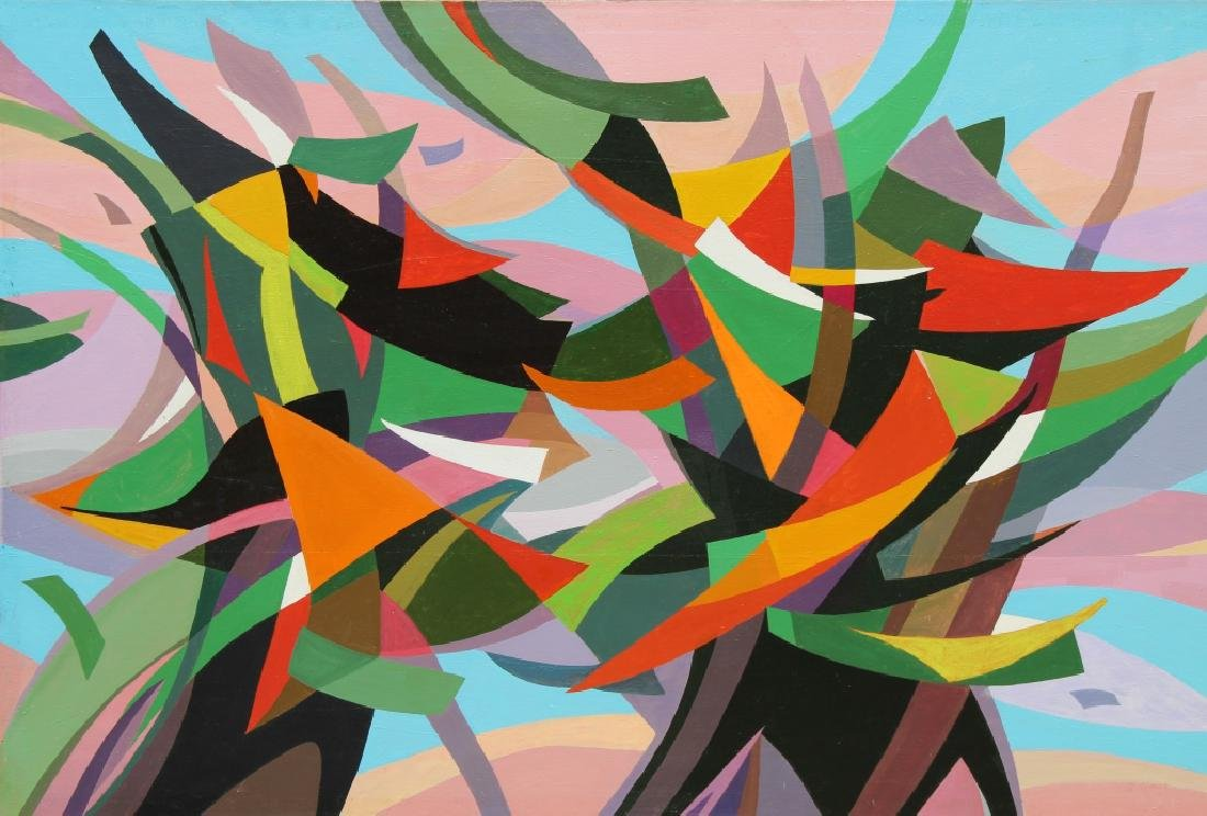 """Large Abstract, """"Fanfare"""" Andree Simon  (1896 - 1981)"""