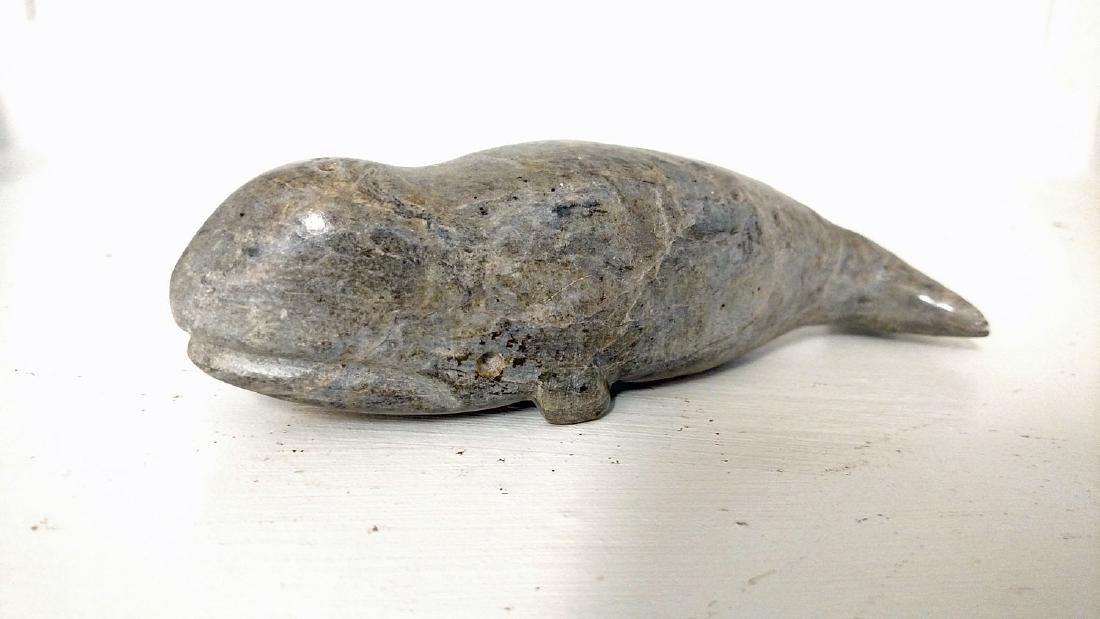 Inuit Hunters Carving of Whale