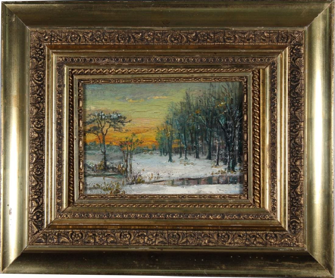 Manner of Carlson, Winter Landscape Painting