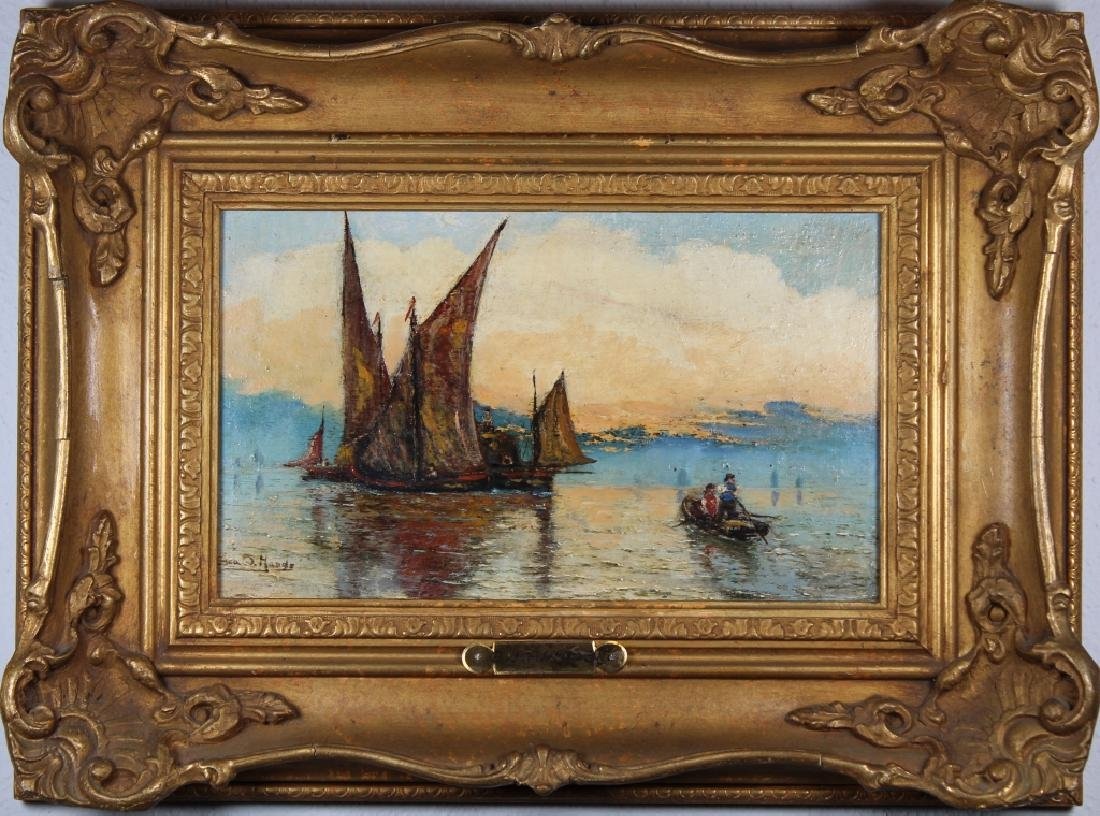 Signed, 19th C. Painting of Sailboats at Sunset