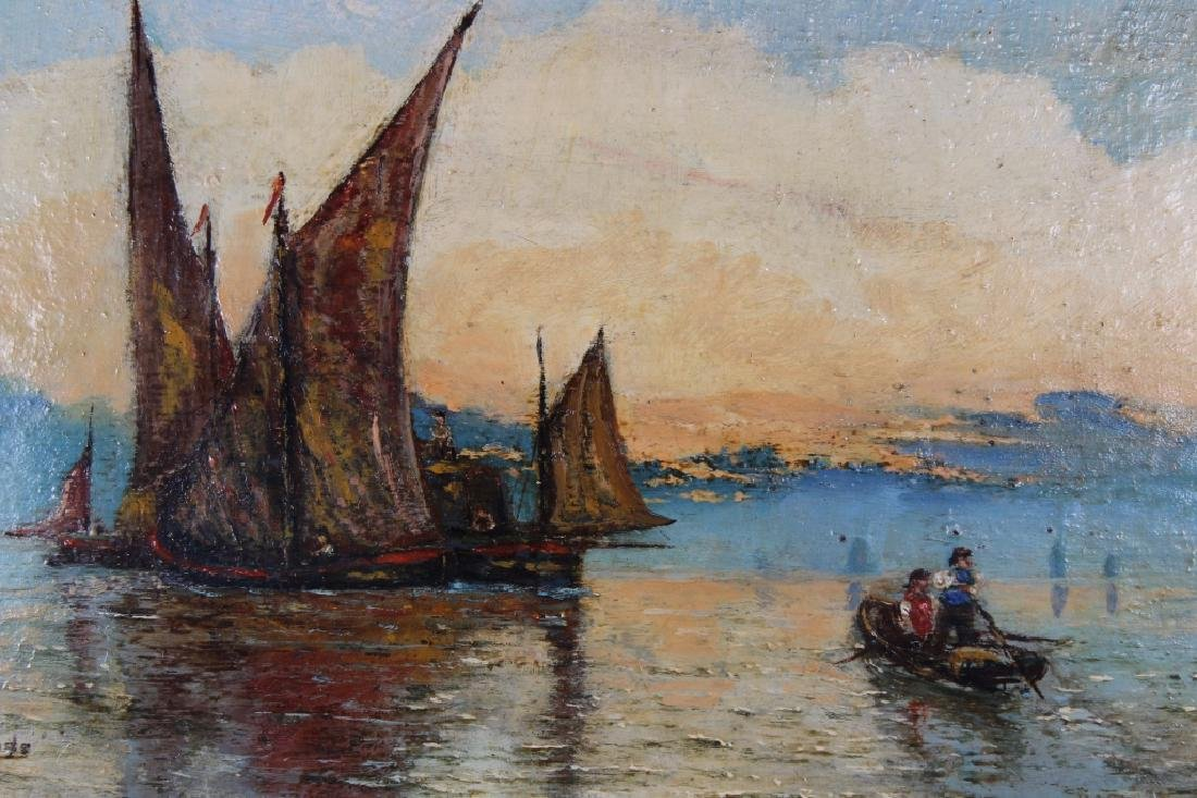 Signed, 19th C. Painting of Sailboats at Sunset - 2