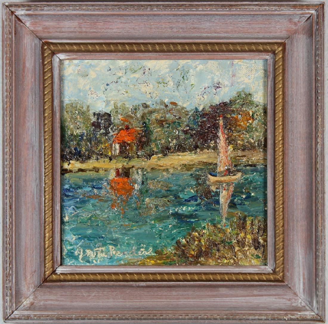 American School, Impressionist Sailboat. Signed