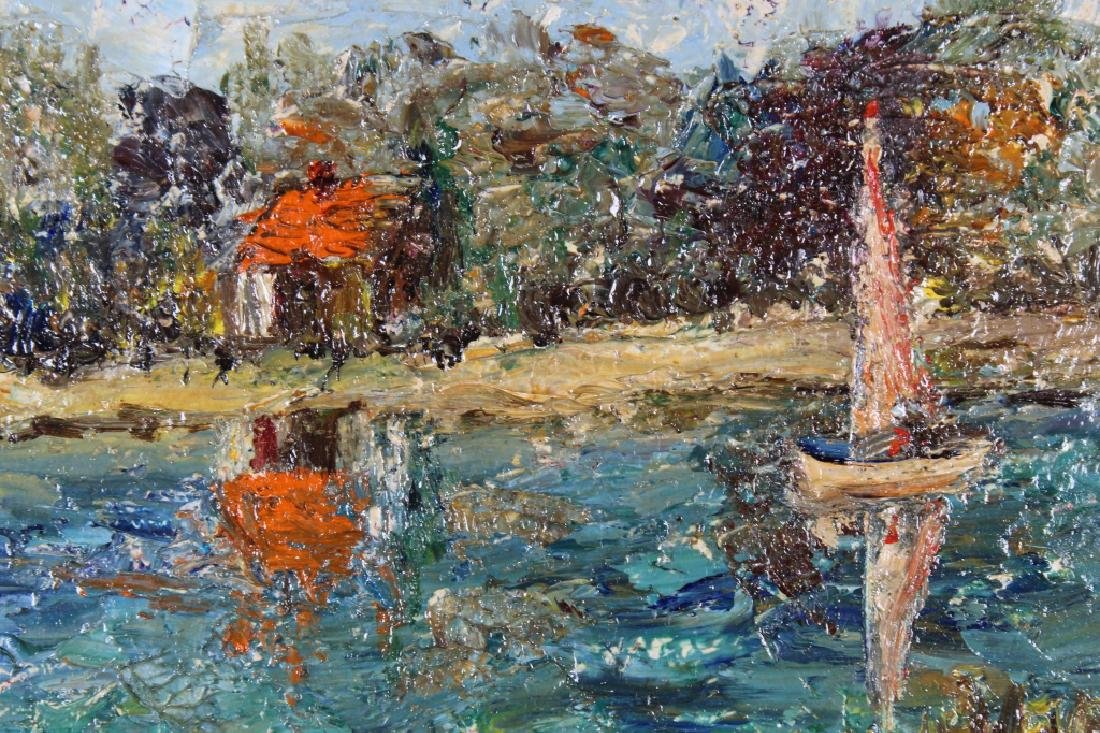 American School, Impressionist Sailboat. Signed - 2