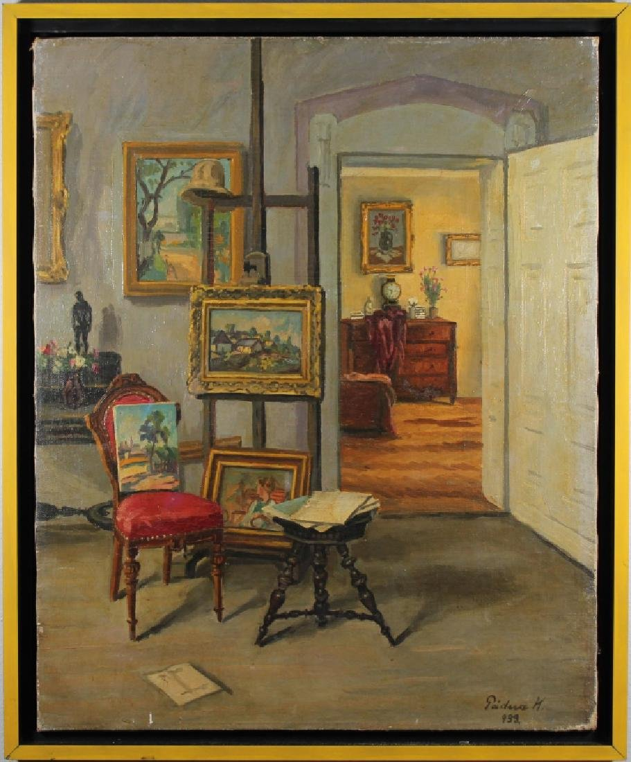 Signed, 1933 Painting of an Artist's Studio