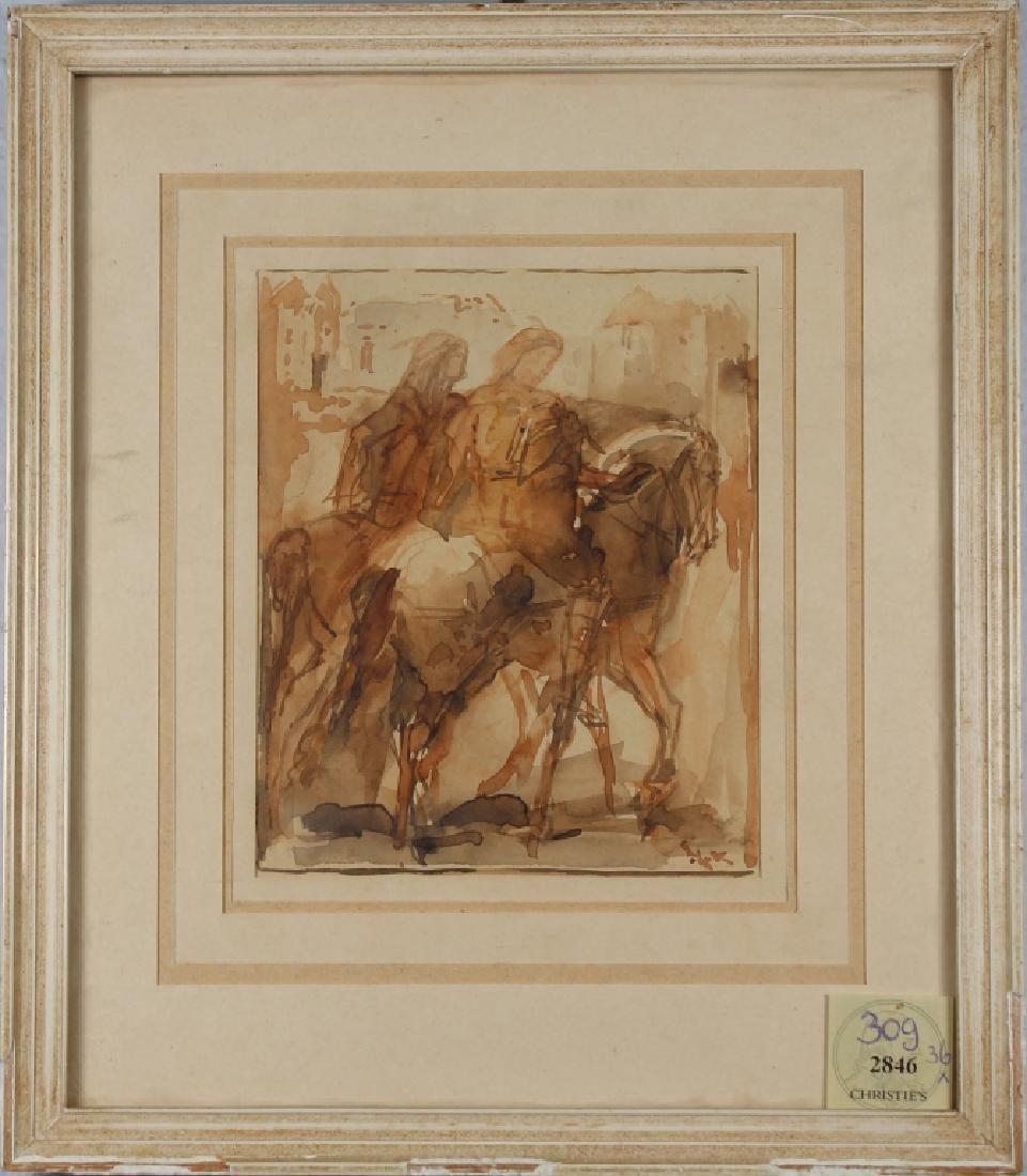 19th C. W/c of Figures on Horseback, Ex Christie's