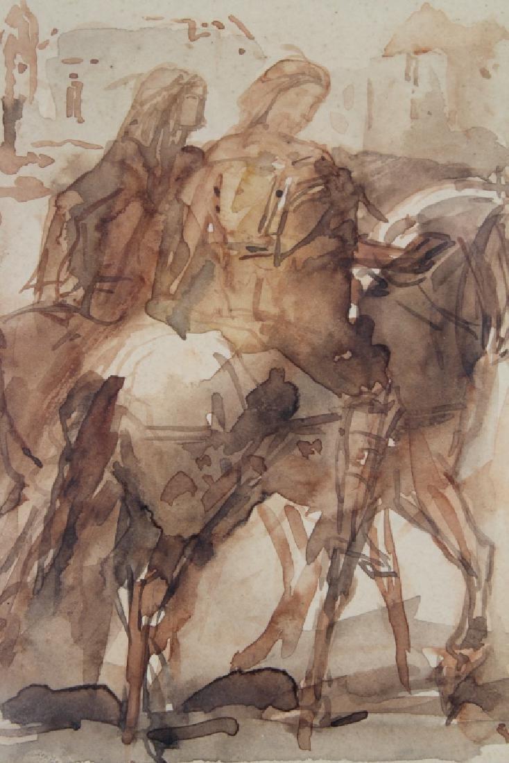 19th C. W/c of Figures on Horseback, Ex Christie's - 2