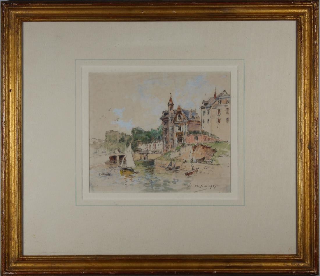 1937 Mixed Media Painting of Canal, Ex Christie's