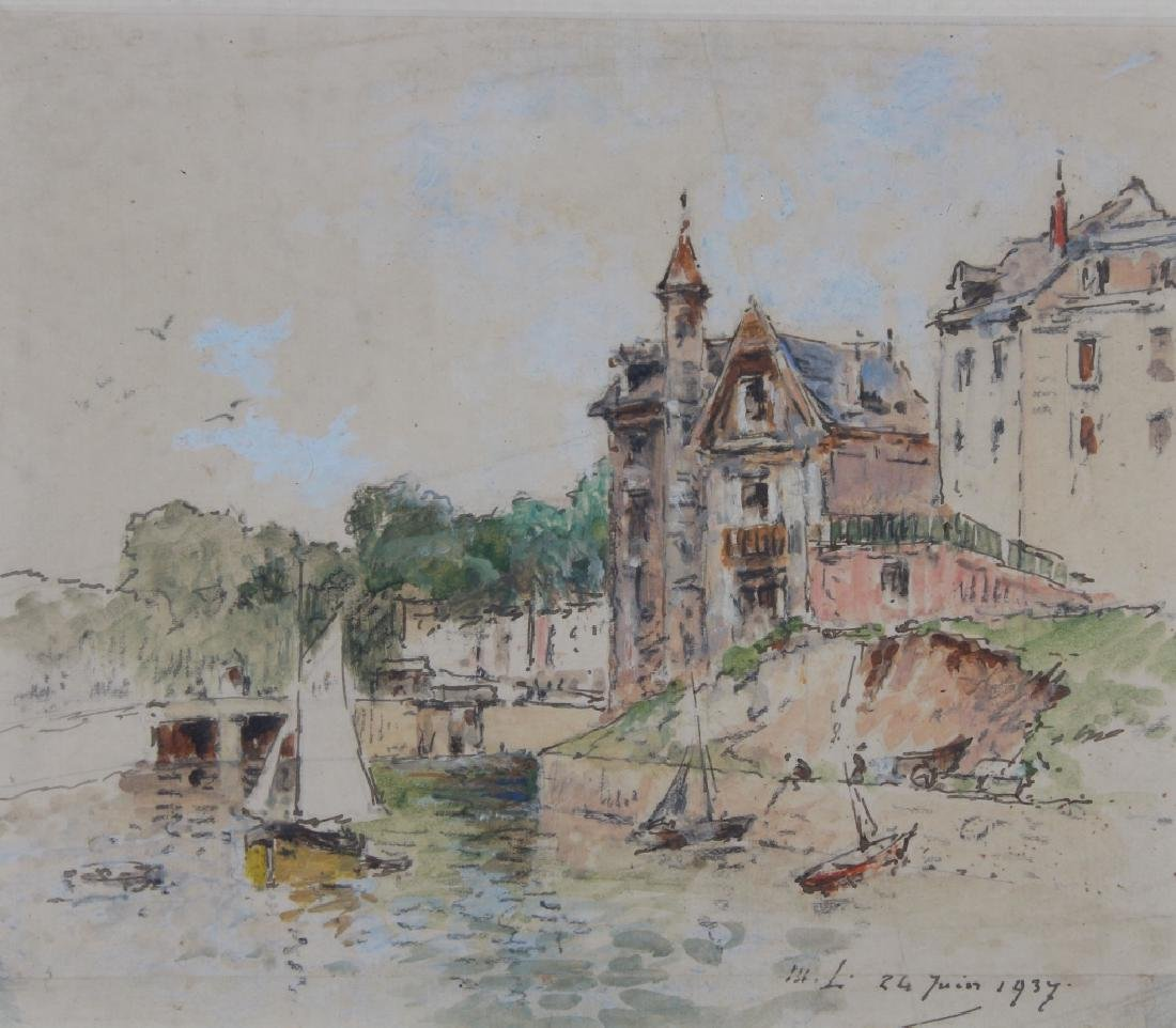 1937 Mixed Media Painting of Canal, Ex Christie's - 2