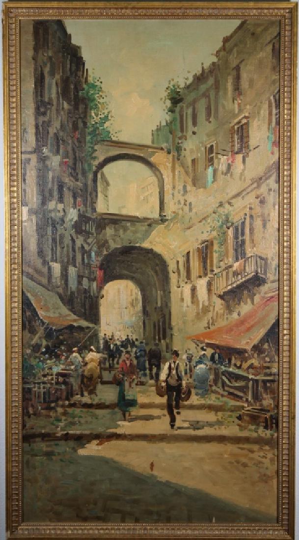 Large Impressionist Italian Street Scene