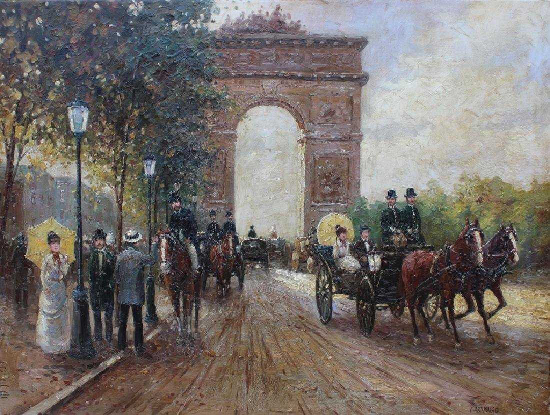 Large Impressionist Arc de Triomphe Ptg, Signed