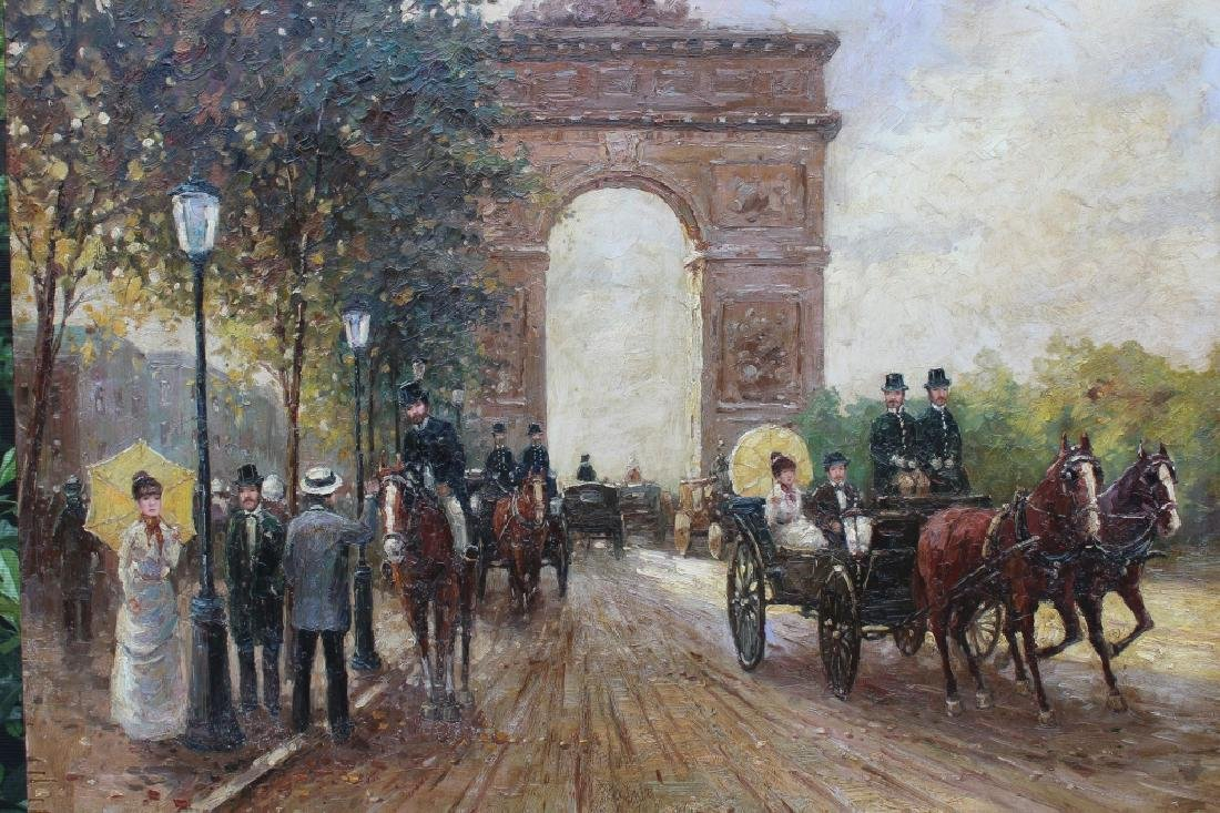 Large Impressionist Arc de Triomphe Ptg, Signed - 2