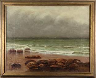 Signed 1814 American School Coastal Seascape