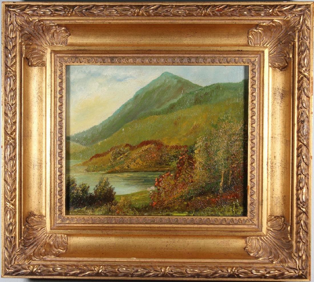 Antique American School Mountain Lake Landscape