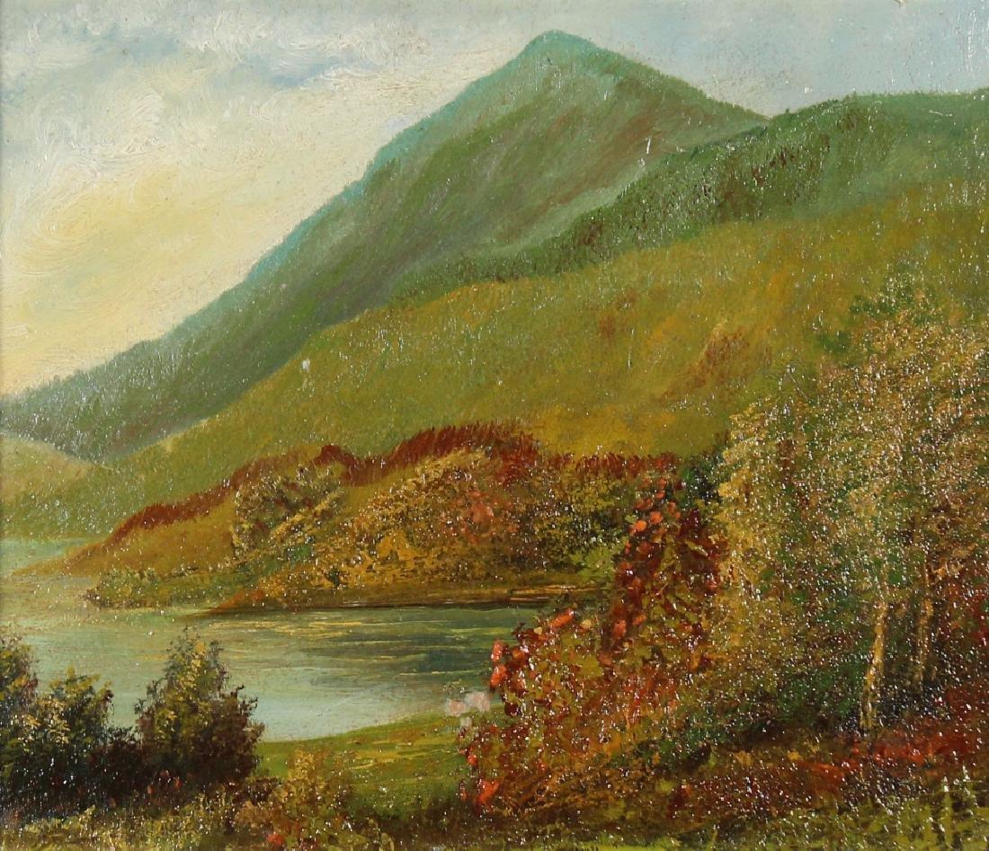 Antique American School Mountain Lake Landscape - 3