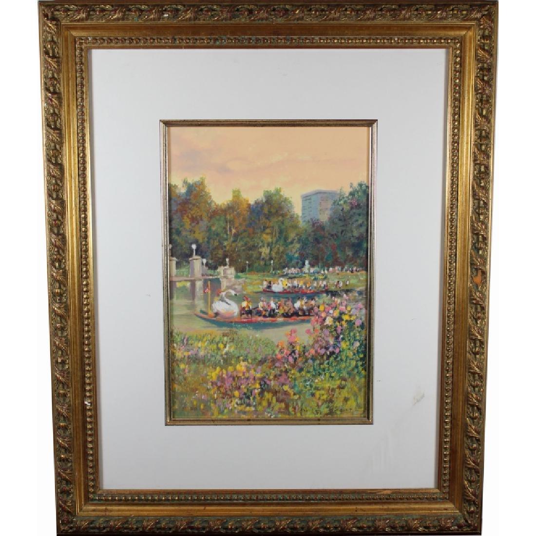 Boston Public Garden with Swan Boats, Figures