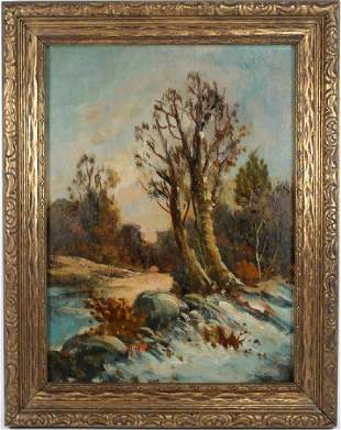 American School Painting of Wooded Landscape