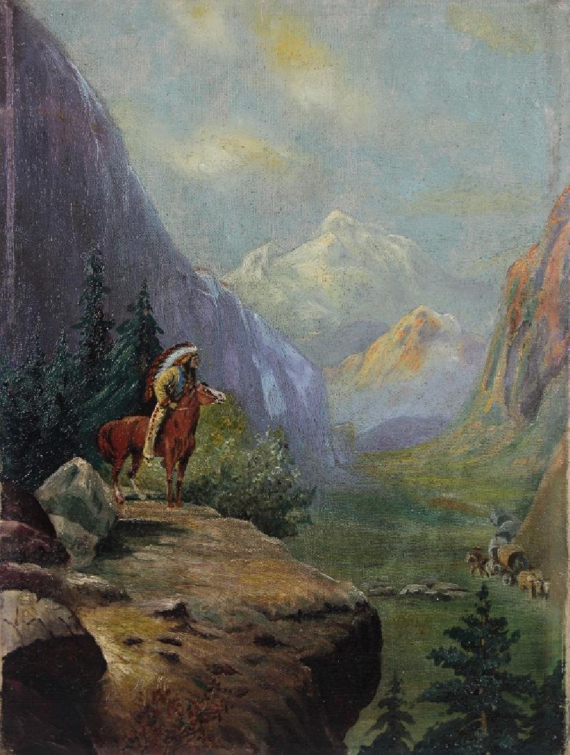 American School, 19th C. Painting of Indian