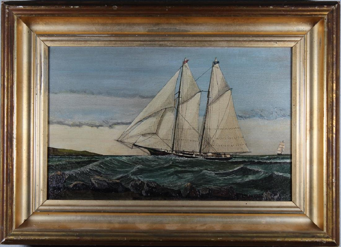 19th C. Painting of Yachts Near the Coast