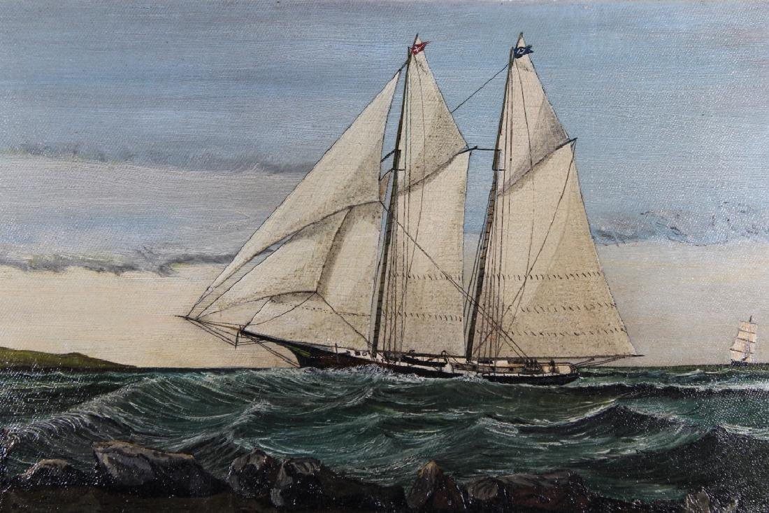 19th C. Painting of Yachts Near the Coast - 2