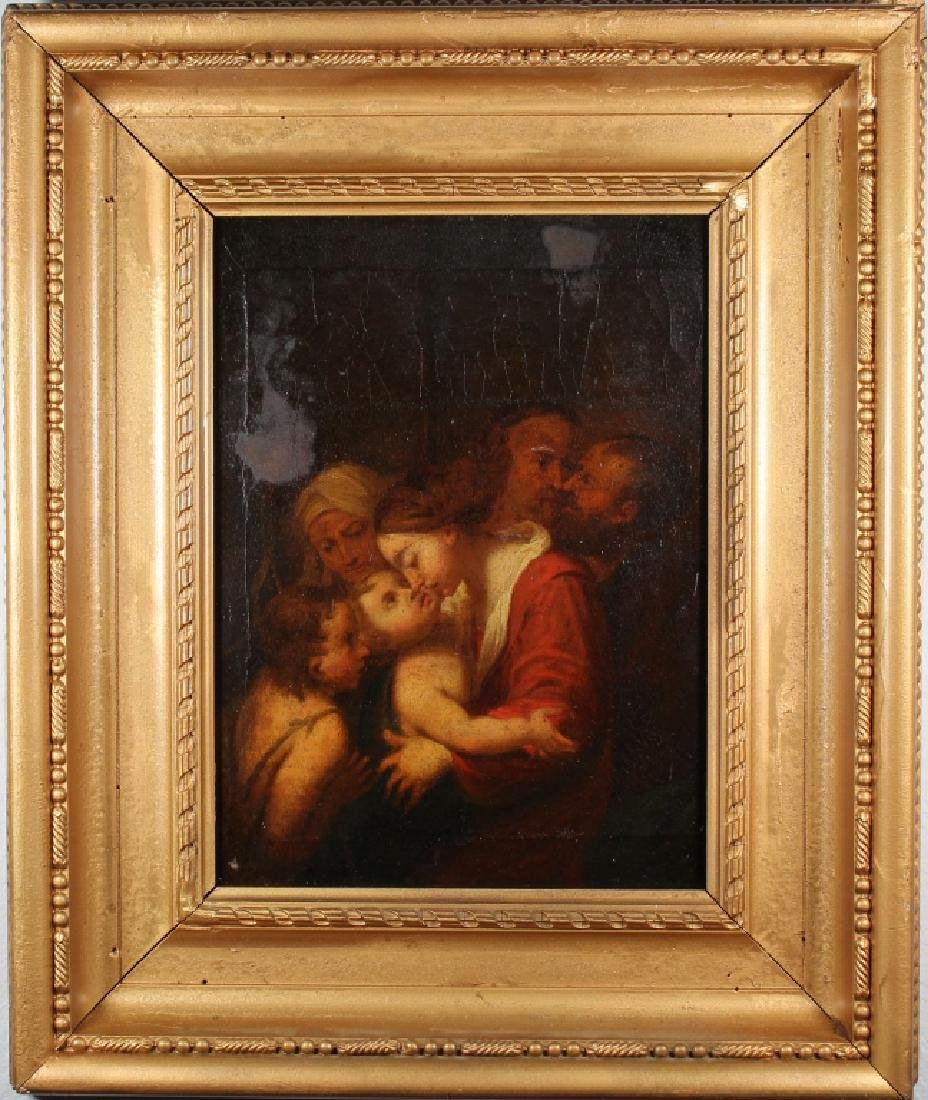 18th C. Interior Painting of Mother & Children