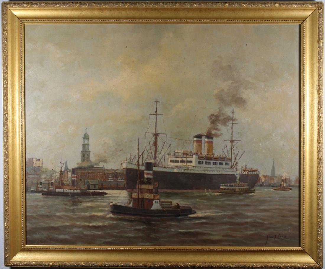 Early 20th C. Signed European Harbor Scene
