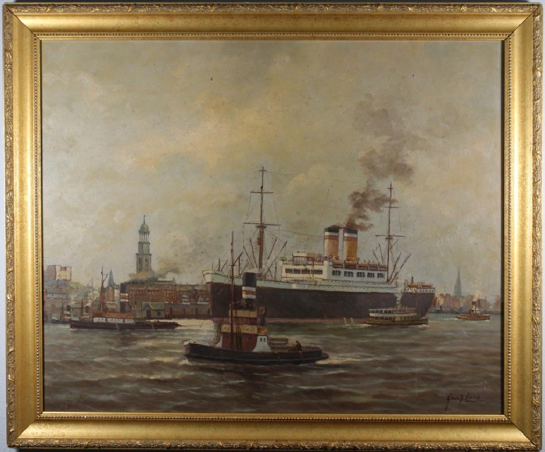 Early 20th C. Signed European Harbor Scene - 2