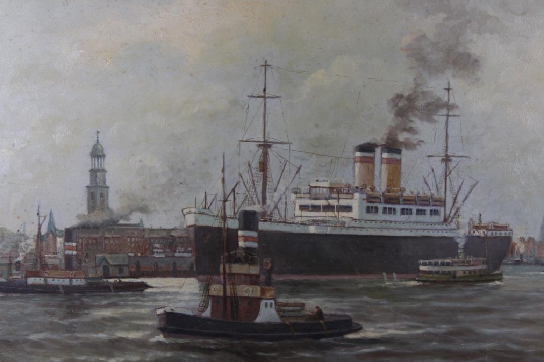Early 20th C. Signed European Harbor Scene - 3