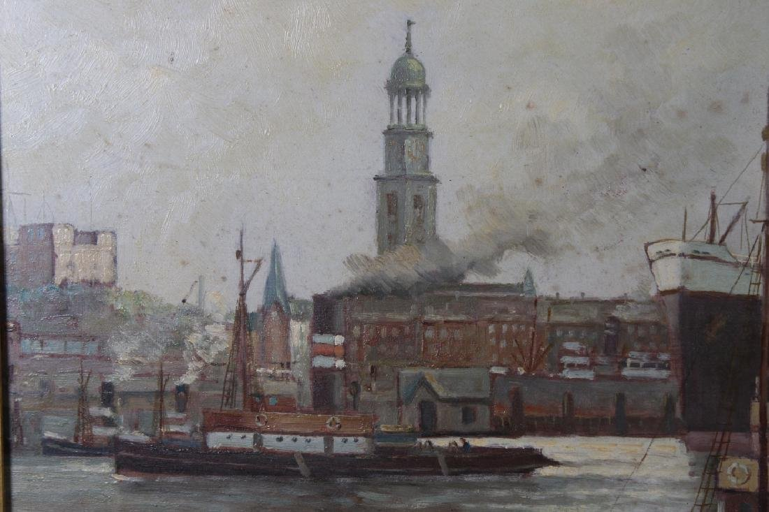 Early 20th C. Signed European Harbor Scene - 4