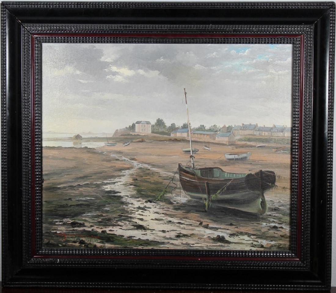 French School Painting of Beached Boats