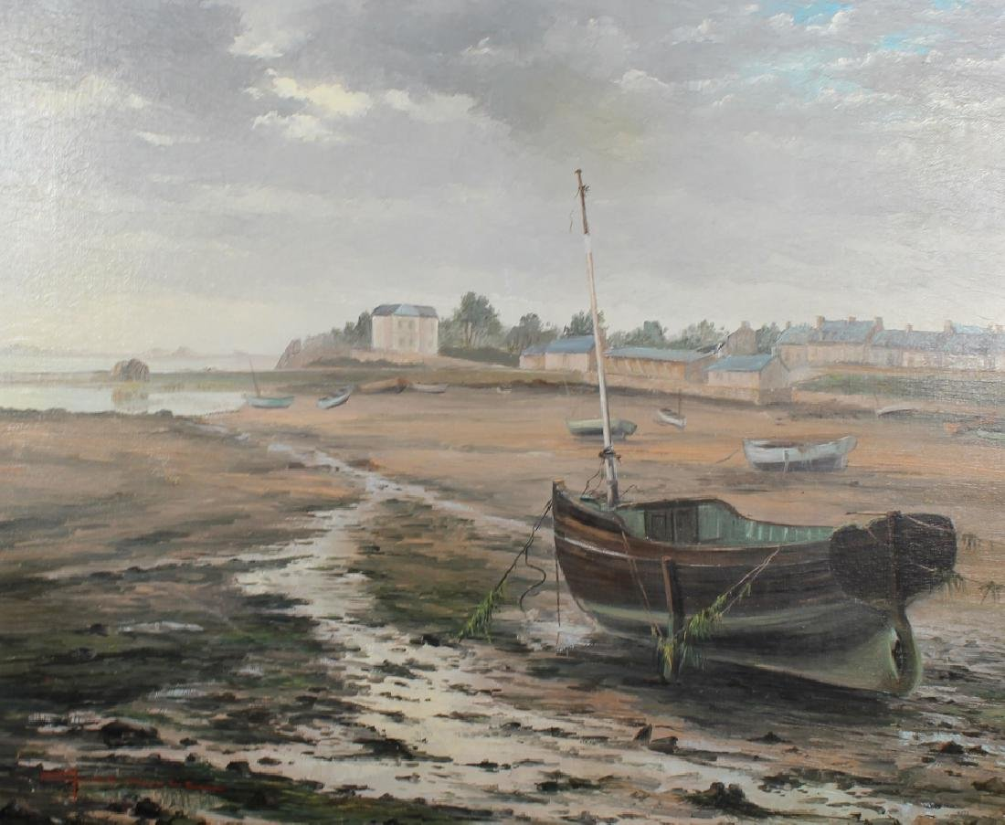 French School Painting of Beached Boats - 2