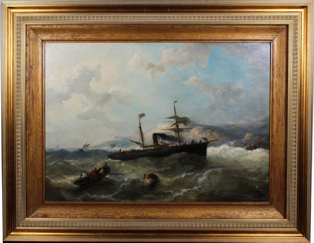 French School, 19th C. Ship in Rough Seas. Signed