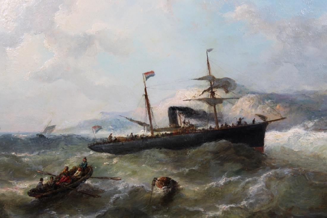 French School, 19th C. Ship in Rough Seas. Signed - 2