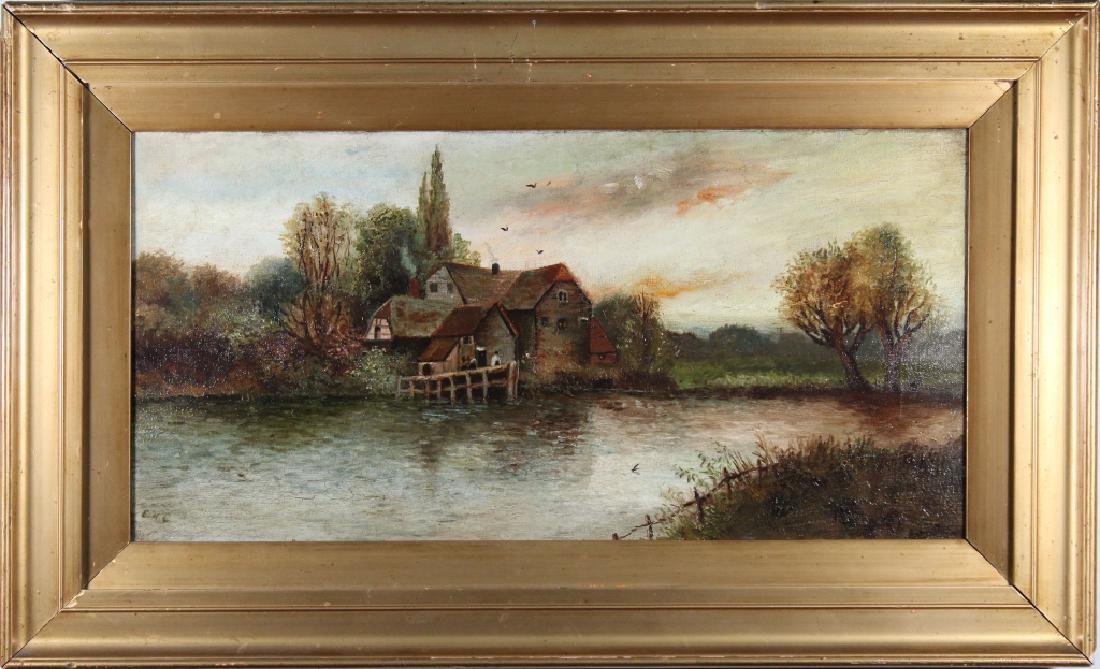 Signed 19th C. Painting of a Cottage Near a Lake