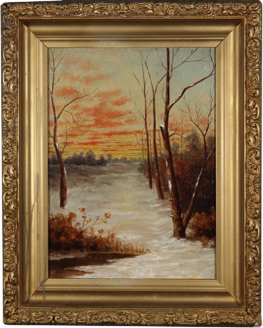 Antique American School Winter Landscape
