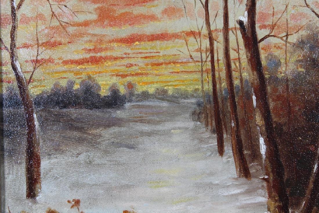 Antique American School Winter Landscape - 2