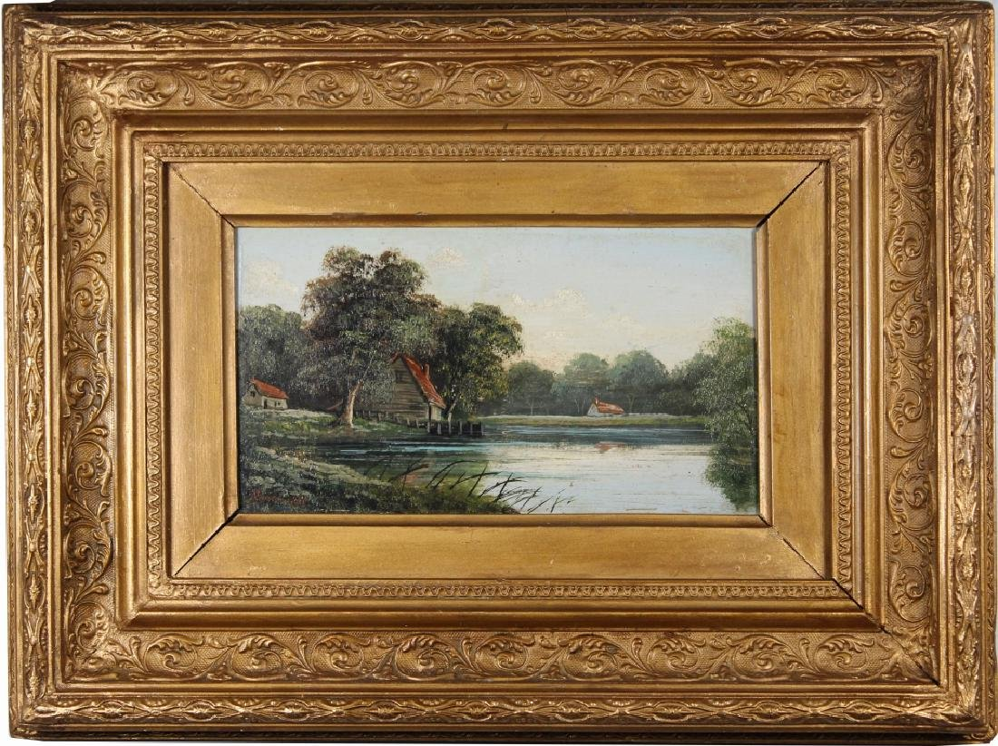 1891, Painting of Cottage Near a River. Signed
