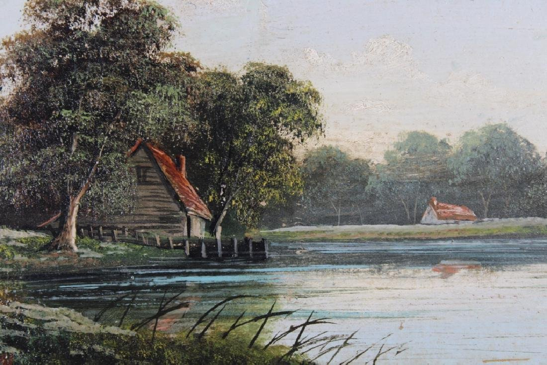 1891, Painting of Cottage Near a River. Signed - 2
